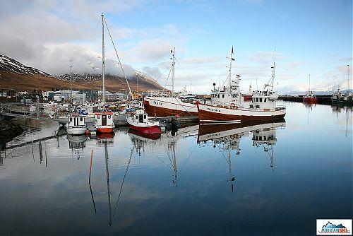 Přístav v islandské Mecce heliskiingu - Dalvík