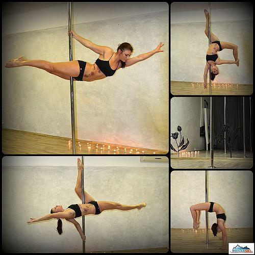 Pole dance - ruce i nohy se na tyči navzájem dokonale doplňují