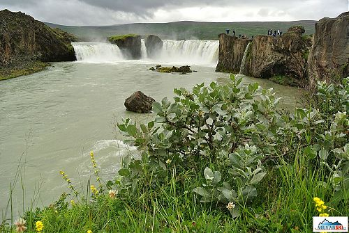 Turisty oblíbený vodopád Godafoss