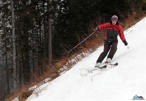 Sklon dostačující a sníh pevný