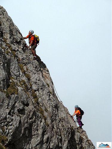 Záverečný ferrátovy úsek pod vrcholom Hochlantsch
