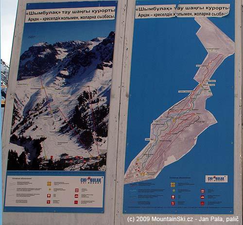 Foto a mapa lyžařského střediska Čimbulak
