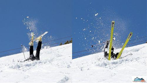 Dušan předvedl dokonalé provedení pádu hlavou dolů s velkým batohem, po úvodním zarytí do sněhu se přetočil přes hlavu a horní část těla, aby pád dokončil postavený na lyžích