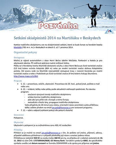 Pozvánka na Setkání skialpinistů na horském hotelu Martiňák v Beskydech