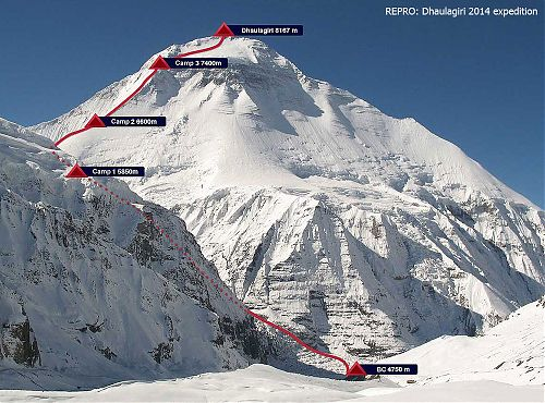 Expected route to Dhaulagiri