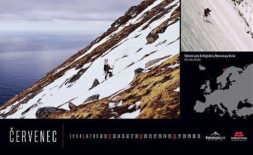 U každého měsíce najdete hlavní horskou fotografii s popiskem a mapkou, kde na glóbu naší planety se scéna odehrává. Dále je stránka doplněna o lyžařskou fotografii menšího formátu, u níž je lokalita čistě náhodná