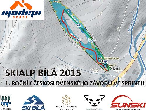 Mapa tratě 1. ročníku československého skialpinistickéoh sprintu Bílá