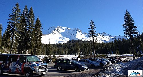 Parking place and usual beginning of ascend to Mt. Shasta
