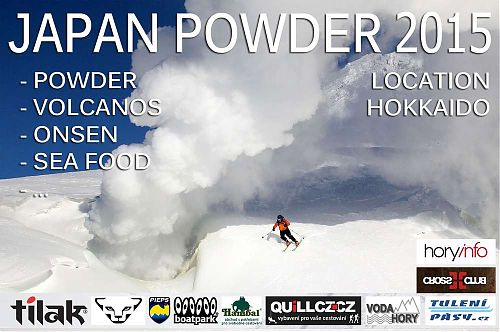 Úvodní obrázek prezentace o prašanovém lyžování a freeride v Japonsku