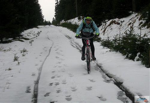 Ze severní strany Klínovce je to i na běžky