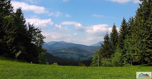 Výhled z hřebene Vsackých Beskyd na Čertův Mlýn a Kněhyni