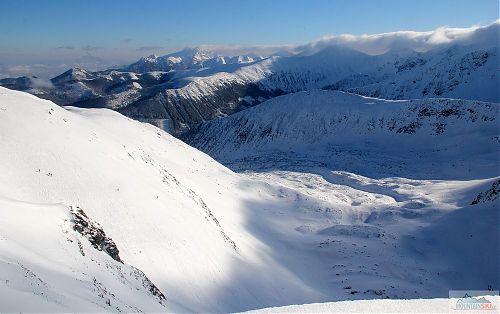 Skialpinistické hřiště ve Spálené dolině z nadhledu