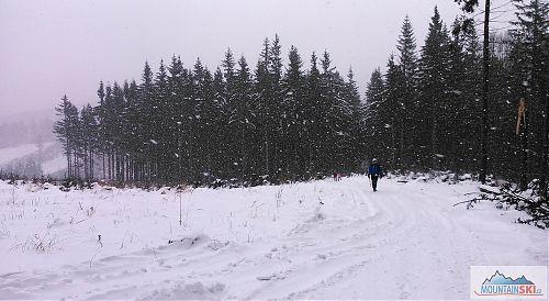 Sněžilo pěkně, jen ten pruh na bruslení je nějak upravený šmejdy v traktorech