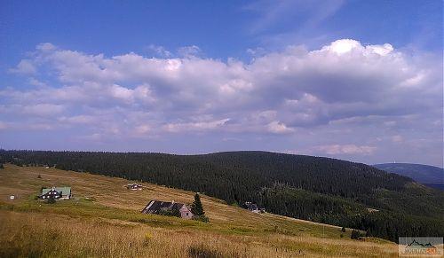 Výjezd z lesa po K1A  s výhledem na Zadní Rennerovky