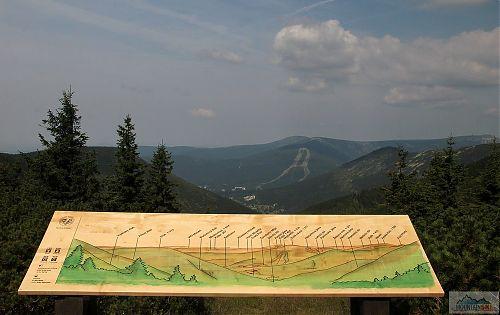 Vyhlídka nad Výrovkou do údolí Svatopeterského potoka a sjezdovky na Medvědíně