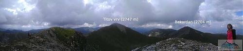 Výhled z Turčinu (2702 m) na Titov vrv a Bakardan