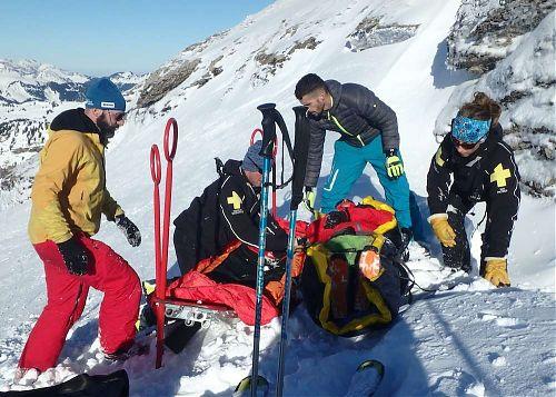 Zimní záchrana ve francouzských Alpách