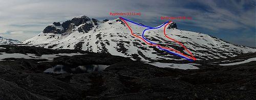 Výstupové trasy jsou značeny modře, sjezdové trasy červeně