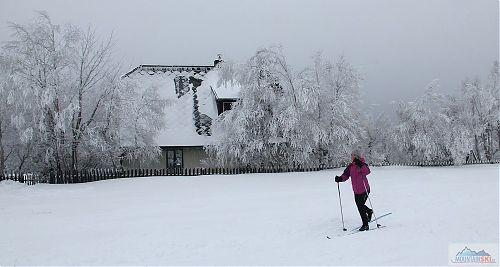 Na Cínovci jsou sněhem obsypané nejenom stromy, ale i budovy