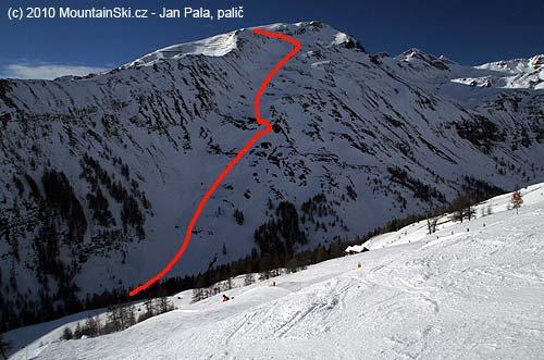 Ski route 2zvrcholu Shareck– 2604m– do Fleissalmu– 1809m