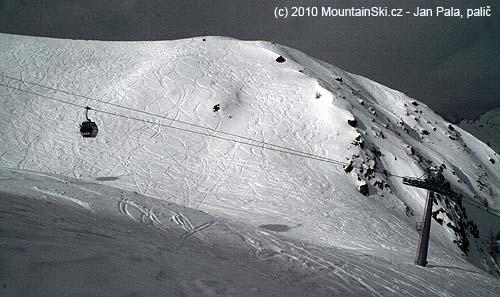 Volný teren těsně pod nejvyšší části střediska Kals-Mattrei zvané Cimaross– 2621m