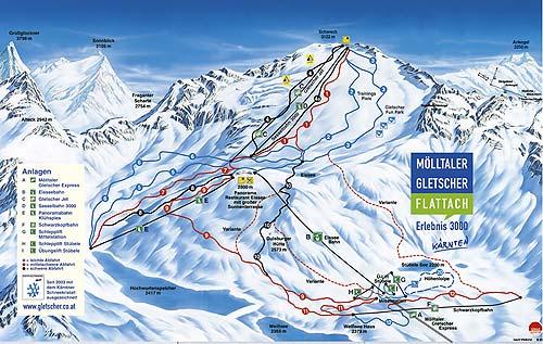 Mapka tratí na Mölltalském ledovci